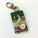 hare bag charm, hare key clip, hare journal charm