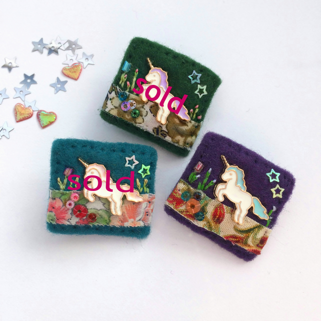 mini unicorn brooch, hand sewn cute letterbox friendly gifts