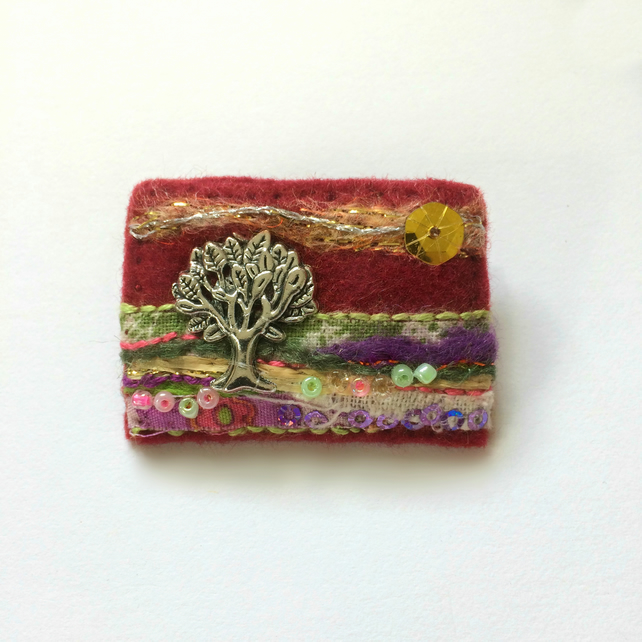 tree brooch, hand sewn mixed media tree of life badge