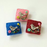 little bird brooch, hand sewn mini felt and charm brooches, lapel pin