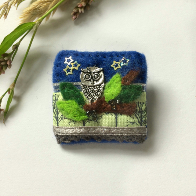 owl brooch, hand sewn starry night owl in a tree textile badge