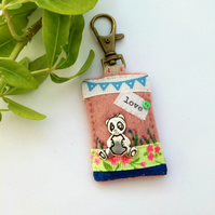 panda bag charm, bear key clip, love pandas journal notebook charm