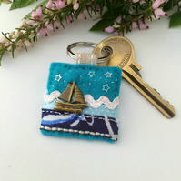sailing boat keyring, nautical accessories in turquoise, textile key rings