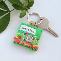 knitting keyring, hand sewn decorative felt key ring in candy colours