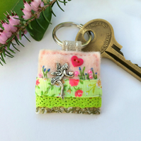 fairy keyring, pretty hand sewn faery accessory, unique Mother's Day gift