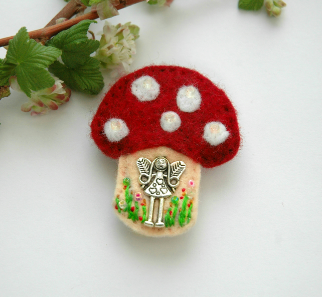 fairy toadstool brooch, decorative felt and charm faery mushroom badge