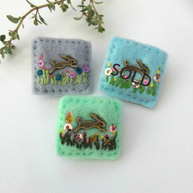mini rabbit brooch, leaping hare badge, hand sewn Easter bunny gift idea