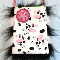 Fluffy Cow Bag and Sweet Felt Flower Brooch. Funky Bag. Felt Brooch.