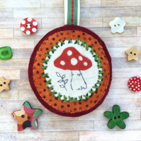 Autumn Mushroom Decoration. Toadstool Decoration. Handmade Hanging Decoration.
