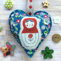 Russian Doll Hanging Heart Decoration. Blue. Boho Decor.