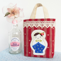 Russian Doll Gift Bag. Fabric Gift Bag. Tiny Tote. Fabric Storage. Cute Gift.