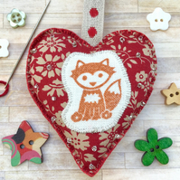 Fox Hanging Heart Decoration. Fox Decoration. Woodland Decoration. Boho Decor.