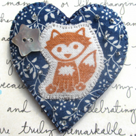 Midnight Blue Heart Fox Brooch. Lovely Textile Brooch. Beads. Boho, Woodland