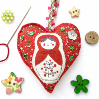 Russian Doll Hanging Heart Decoration. Boho Decor. Love Heart. Cute Decor