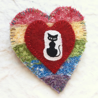 Rustic Rainbow Cat Brooch. Heart Brooch. Felt Brooch. Rainbow Brooch.