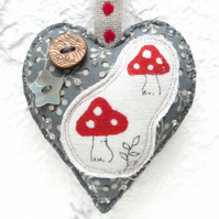 Mushroom Hanging Heart Decoration. Toadstool Decoration. Boho Home. Boho Decor