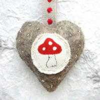 Gorgeous Handmade Mushroom Hanging Heart Decoration. Country Cottage. Toadstool.