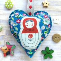 Russian Doll Hanging Heart Decoration. Hanging Ornament. Christmas Decoration.