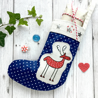 Adorable Mini Reindeer Stocking. Cute Christmas Decoration. Handmade Christmas.
