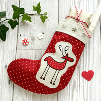 Jolly Red Reindeer Mini Stocking. Reindeer Decoration. Christmas Decoration.