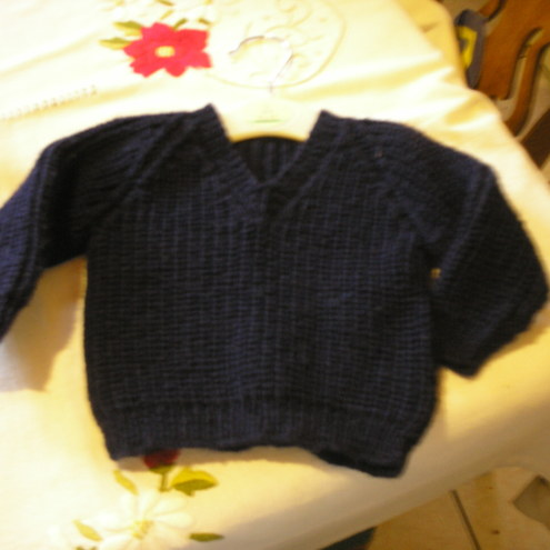 Dark Blue Fishermans Rib Baby V-Neck Jumper