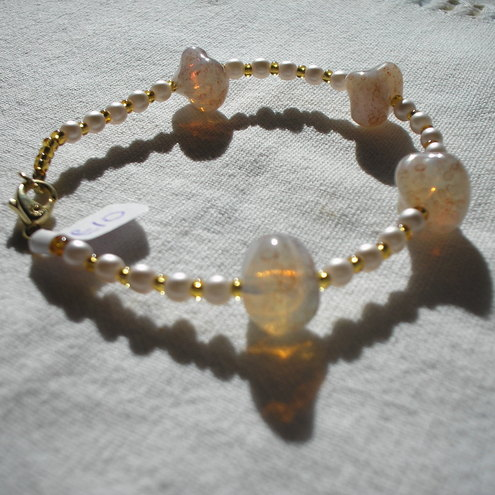 Cream/Gold Nugget Bracelet