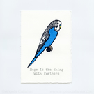 Budgie, Hand Stamped, Print