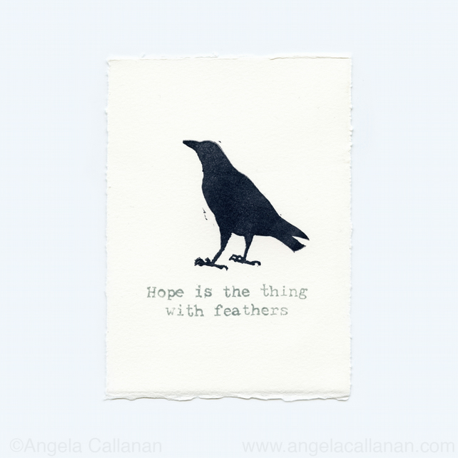Carrion Crow, Hand Stamped, Print