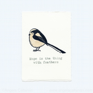 Long-Tailed Tit, Hand Stamped, Print