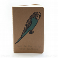 Budgie, Hand Stamped Moleskine Journal, Notebook