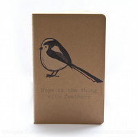 Long-Tailed Tit, Hand Printed, Moleskine, Journal, Notebook