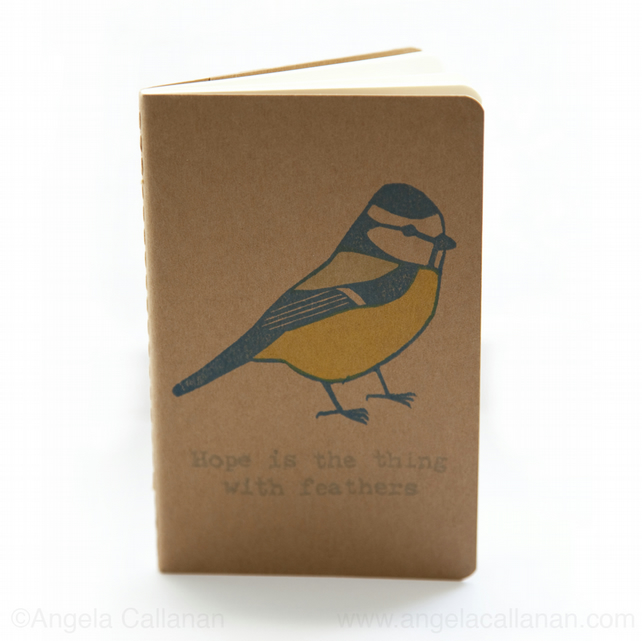 Blue Tit, Hand Printed with Rubber Stamp, Moleskine, Journal, Notebook