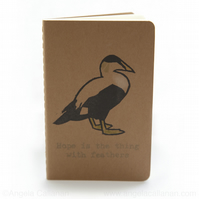 Eider Duck, Hand Printed with Rubber Stamp Moleskine Notebook