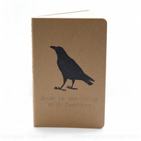 Crow, Hand Printed, Moleskine Journal, Notebook