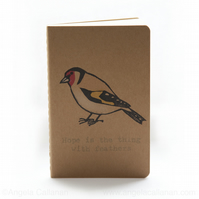 Goldfinch, Hand Printed Moleskine Journal, Notebook