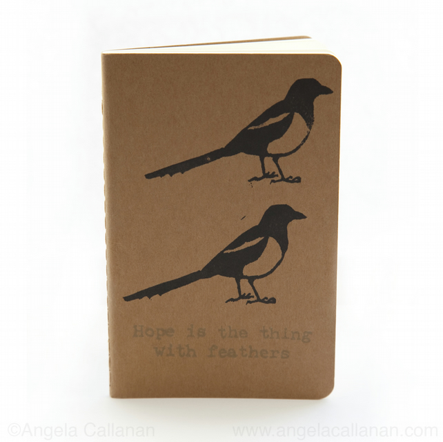 Magpies, Hand Printed, Moleskine, Journal, Notebook