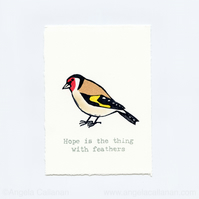 Goldfinch, Hand Stamped, Print