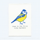 Blue Tit, Hand Stamped, Print
