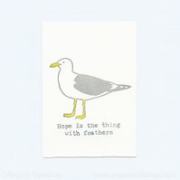 Gull, Hand Stamped, Print
