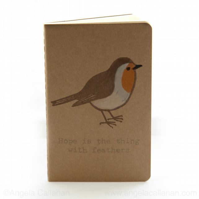 Robin, Hand Printed Moleskine, Journal, Notebook