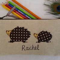 Personalised Spotty Hedgehog Pencil Case Choice of wording on natural linen
