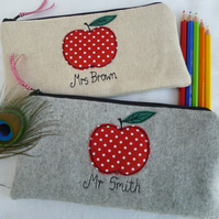Personalised Teacher Gift Apple pencil case Grey Wool or Linen & choice of words