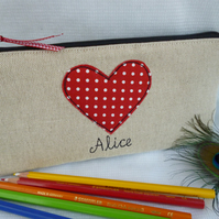 Personalised Red pencil case makeup bag Choice of grey or linen & wording