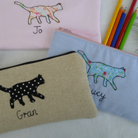 Personalised Cat pencil case Blue, Pink or Natural & choice of personlisation