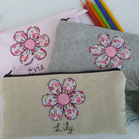 Handmade Personalised Flower pencil case Choice of grey pink or linen & wording