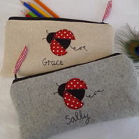 Handmade Personalised Ladybird pencil case Choice of grey or linen & wording