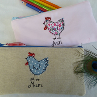 Handmade Personalised Hen Chicken pencil case Choice of blue or pink & wording