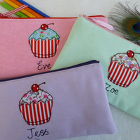 Personalised Cupcake pencil case Green Pink or Lilac & choice of personlisation