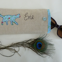 Personalised Blue Cat Glasses Sunglasses Case Pouch Choice of Wording on linen
