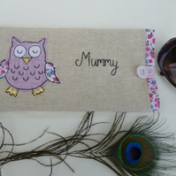 Personalised Lilac Owl Glasses Sunglasses Case Pouch Choice of Wording on linen